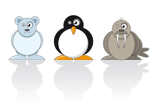 Illustration eisbär pinguin und walross